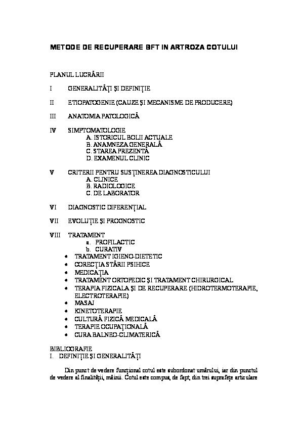 Artroza deformantă inițială a articulației șoldului